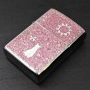 ZIPPO メタル ≪ZIPPO 2MPP-Cat(PK) 真鍮板両面特製プレート キャット&フラワー デザイン ピンク≫