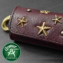 ≪Groover Leather/グルーバーレザー GKS-100-BRD 真鍮製スタッズ付き キーケース ボルドー ブラスリング付き≫