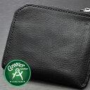 ≪Groover Leather/グルーバーレザー GLS-100-BLK 手縫い L型ジップ小型ウォレット プレーン ブラック≫