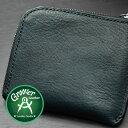≪Groover Leather/グルーバーレザー GLS-100-MGRN 手縫い L型ジップ小型ウォレット プレーン モスグリーン≫