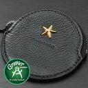 ≪Groover Leather/グルーバーレザー GDB-100-BLK 小銭入れ 星スタッズ付き丸型コインケース ブラック≫