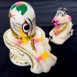 【ペイントシヴァリンガ&ナンディ】インドバラナシシヴァナンディープージャペイントガンジス川瞑想スピリチュアル大理石置物