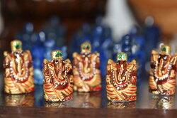 【パワーストーンペイントガネーシャサンドストーン】インドパワーストーンゴールド運命ガネーシャ瞑想グッズ幸運スピリチュアル