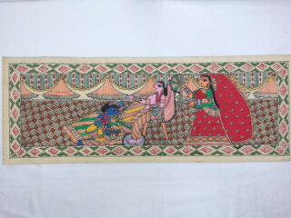 商品送料無料!!◆【ミティラー画(手すき紙)大】インド雑貨 アジアン雑貨 伝統画法 ミティラー画 手すき紙 ピカソ