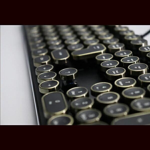 HKW タイプライター風メカニカルキーボード キーボード 青軸 JIS規格 109キー USB有線 日本語キーボード【アンティーク風】