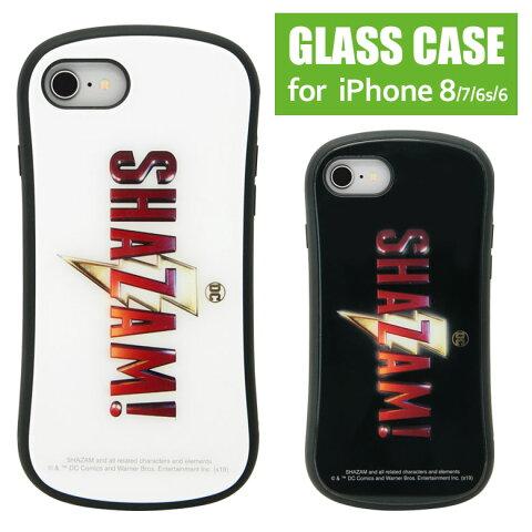 シャザム! iPhone8 iPhone7 対応 ハイブリッドケース 9H 高硬度 ガラスケース カバー SHAZAM ロゴ DC アメコミ ヒーロー 白 黒 スマホケース ジャケット アイフォン8 アイフォン7 キャラクター グッズ