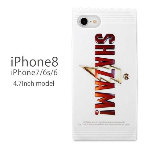 シャザム! iPhone8 iPhone7 対応 ソフトケース スナックパッケージ SHAZAM ケース カバー ソフトカバー ロゴ DC アメコミ ヒーロー 白 スマホケース ジャケット アイフォン8 アイフォン7 キャラクター グッズ