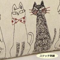 ジニーズダブルポシェット(ノアファミリー猫グッズネコ雑貨ねこ柄帆布ポーチ)051-A731