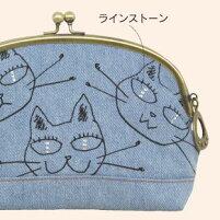 ジニーズがま口ポーチ(ノアファミリー猫グッズネコ雑貨ねこ柄帆布ポーチ)051-A732