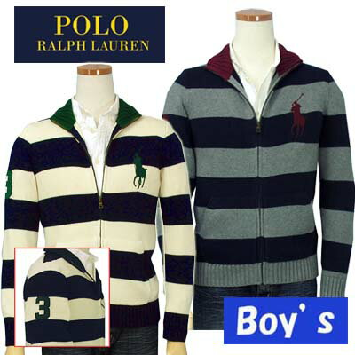 POLO by Ralph Lauren Boy'sビッグポニーボーダーフルジップセーター