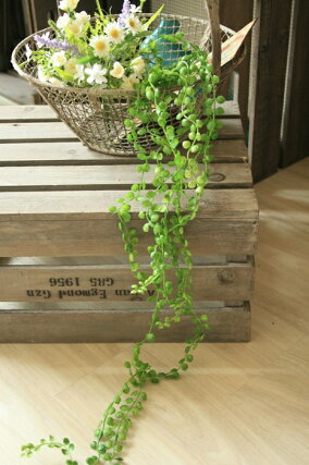 フェイクグリーン壁掛けインテリアグリーンガーランド【造花グリーンビーン2個セット】