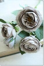 造花(バラ)グレーインテリアグリーン観葉植物フェイクグリーン【造花エクリュメリンダローズ(アンティークグレー)】