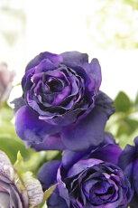 造花(バラ)ピンクインテリアグリーン観葉植物フェイクグリーン【造花エクリュアンティークローズ(パープル)】