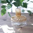 花瓶 お洒落 一輪挿し ヨーロピアン ガラスベース アンティーク アンティーク風直径10×11.5cm/アンバークリア