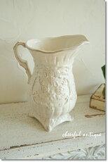 花瓶アンティーク花瓶おしゃれ花瓶アンティー【ClayCeramicVaseSophiaホワイトLL】ピッチャー陶器