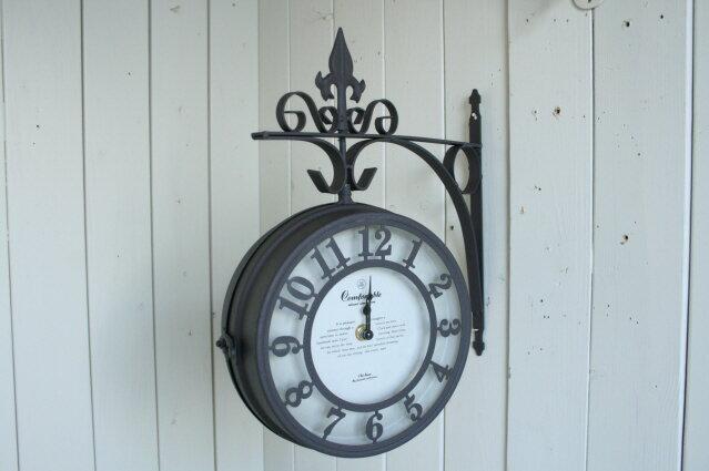 掛け時計 おしゃれ アンティーク風 雑貨 両面時計 Both Side Clock ブラウン アンティーク壁掛け時計 巾30×奥行8.5×高さ35cm