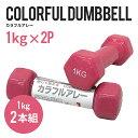 カラフルアレー1kg2本セット BA-2006×2 美容健康、フィットネス、エクササイズ、トレーニング、筋力トレーニング、腕力強化、ダンベル、鉄アレー 筋肉 ダイエット マッスル マッチョ 運動