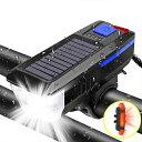 自転車 ライト usb 自転車 ライト ソーラー 充電式 電池 防水 led ソーラー 高輝度 IPX5 クラクション バックライト