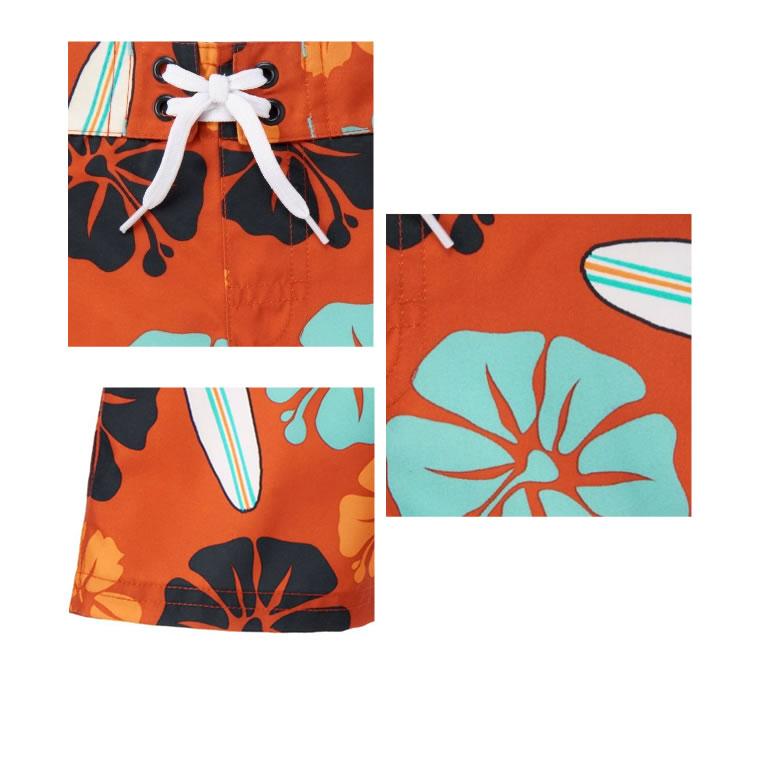 【送料無料】ジンボリー(Gymboree)ダークなオレンジ地ハイビスカス柄のトランクス水着