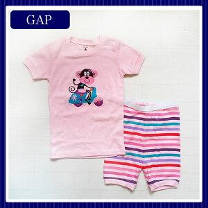 ギフト/出産祝い/内祝いお返しのプレゼントに♪ピンクのおさる柄Tシャツとボーダーパンツのルー...