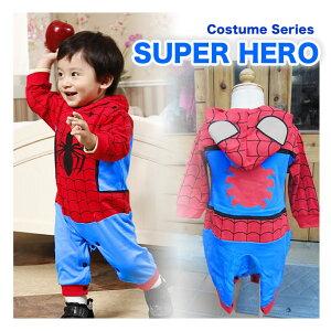 ★映画のヒーロースパイダーマン風の長袖カバーオール。レビューを書いて送料無料。出産祝いや...