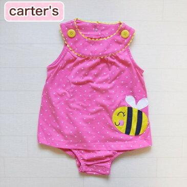 カーターズ 正規品 Carter's -1)ピンクのドットが超かわいいハチのアップリケのワンピース風ロンパース(6M 6ヶ月 9M 9ヶ月 12M 12ヶ月 18M 18ヶ月 1歳 1才 赤ちゃん 女の子)(60cm 70cm 80cm 216A230 Carters)