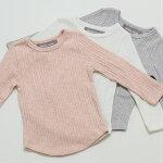 無地TシャツシンプルTシャツスラブ糸ワイドリブリブ生地のびのび女の子男の子子供服キッズ90100110120