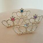 王冠クラウンキラキラティアラコ—ムカラ—ストーン女の子アクセサリーキッズパーティ用ドレスと一緒に付けたいアクセサリーお姫様結婚式用