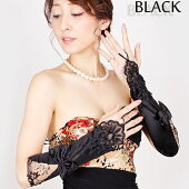 ストレッチサテンロング手袋(ブラック)