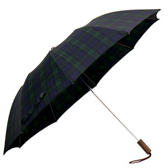 フォックスアンブレラズ umbrella BROWN MAPLE WOOD STRAIGHT HANDLE 10RIB TELESCOPIC luxury folding umbrella green check TEL2 BLACK WATCH FOX UMBRELLAS