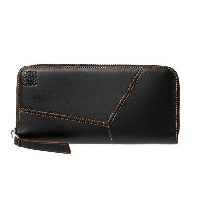 お金を引き寄せ守る黒い財布 LOEWE パズル ステッチ オープン ウォレット