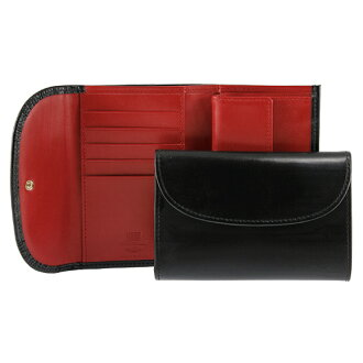 White House Cox /Whitehouse Cox goods cloth tri-fold wallets (purses with) black / red THREE FOLD PURSE S7660 BLACK/RED