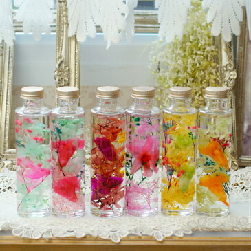 【ハーバリウムキット】ガラス瓶150サイズ×2本分 シリコンオイル 手作りハーバリウム プリザーブドフラワー ちば花プリザ カーネーション アジサイ カスミソウ ラン 花 ガーデン