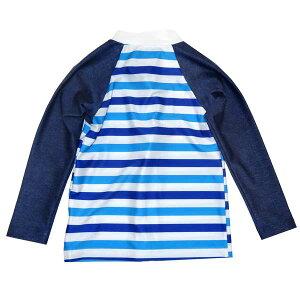 20%OFFセールラッシュガードBdeRビーデアールマルチボーダーUVカット子供服キッズ男児用男の子1974-13050青ブルー