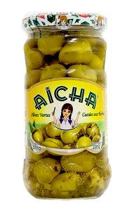 モロッコ産グリーンオリーブ(種有)ハーブ&ガーリック入り 370g(内容量 220g)Green Olive with Herbs & Garlic / Olives Vertes Cassee aux Herbes et Ails (Aicha, Morocco) (前菜 おつまみ ワインのアテ テーブルオリーブ)