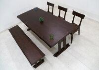 ダイニングテーブルセット5点セット幅190cmベンチ椅子3脚hida-3516人掛けダイニングセット北欧アッシュオール無垢板6人掛けナチュラル色/ブラウン色【輸入品】【2色対応】