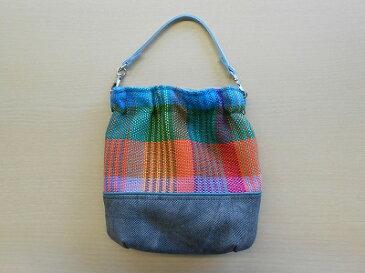 手織りポシェット(持ち手:みずいろ)