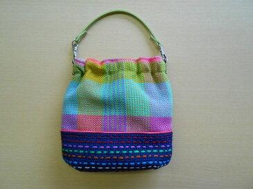 手織りポシェット(ステッチ入り・持ち手:きみどり)