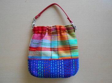 手織りポシェット(ステッチ入り・持ち手:あか)