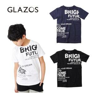 (SALE 20%OFF)(20ss)GLAZOS(グラソス)天竺・ランダムロゴプリント半袖Tシャツ[3色展開]-2257【130cm〜170cm】【メール便OK】