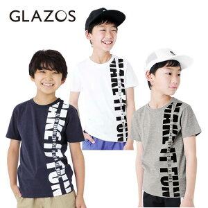 (SALE 20%OFF)(20ss)GLAZOS(グラソス)天竺・縦ロゴプリント半袖Tシャツ[3色展開]-2256【130cm〜170cm】【メール便OK】