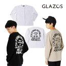 (21SS)GLAZOS(グラソス)天竺・抗菌防臭加工ドロップショルダーバックプリント長袖Tシャツ-1216【130cm〜170cm】【メール便OK】