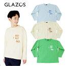 (21SS)GLAZOS(グラソス)天竺・USAコットンドロップショルダーポケットプリント長袖Tシャツ-1233【130cm〜170cm】【メール便OK】