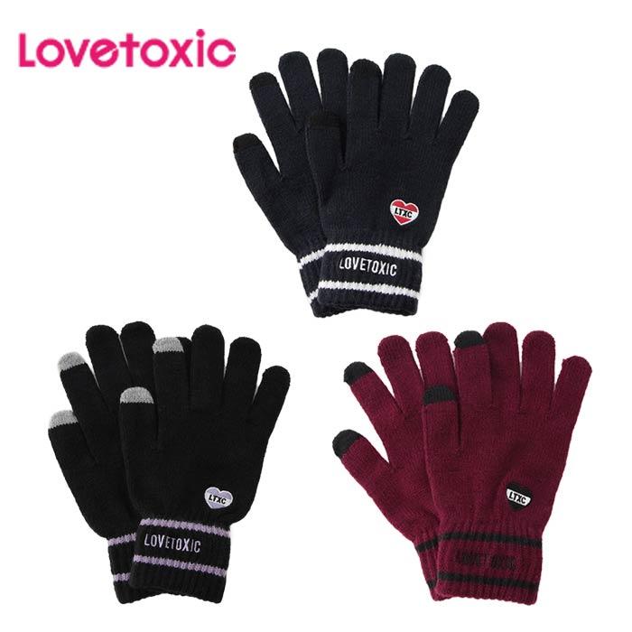 (2019秋冬)ラブトキシック(LOVETOXIC)ロゴラインスマホ5本指手袋-3415【F】【メール便OK】