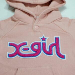 X-girlStages(エックスガールステージス)もこもこロゴ裏毛パーカーワンピース-3314【90cm|120cm|130cm|140cm】【宅配便】