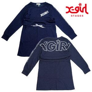 X-girlStages(エックスガールステージス)ビッグスランテッドロゴブラウジングロングスリーブワンピース-3315【120cm|130cm|140cm】【宅配便】