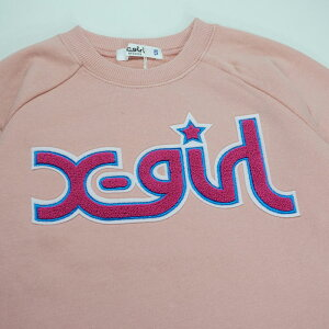 X-girlStages(エックスガールステージス)ミルズロゴサガラワッペンロングスリーブクルーネックスウェット-3206【90cm|120cm|130cm|140cm】【宅配便】