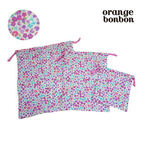 オレンジボンボン(orangebonbon)ミニフラワー柄(小花柄)巾着3点SET-1402【FREE】【メール便OK】