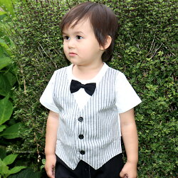 蝶ネクタイ付きベスト半袖カバーオール