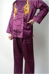 【カンフー服 上下セット】 竜刺繍・赤紫(L、XL、XXL)